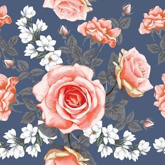 バラの花とのシームレスなパターン