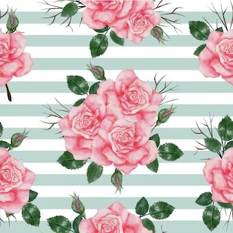 バラのピンクの水彩でシームレスなパターン