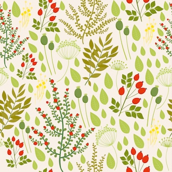 Seamless pattern with rosehip and plant elements