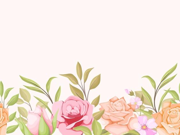 バラと葉とのシームレスなパターン