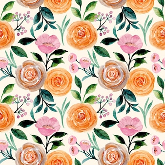 Seamless pattern with roses flower watercolor
