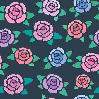 暗い背景の上のバラとのシームレスなパターン素敵でシンプルな様式化された花ベクトル壁紙