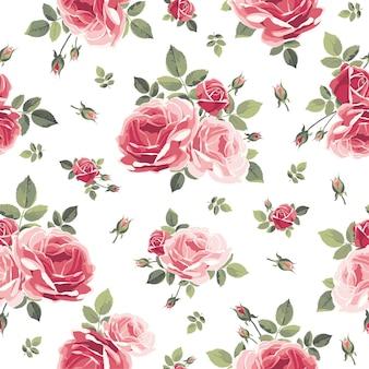 장미와 함께 완벽 한 패턴입니다. 빈티지 꽃 배경입니다. 벡터 일러스트 레이 션