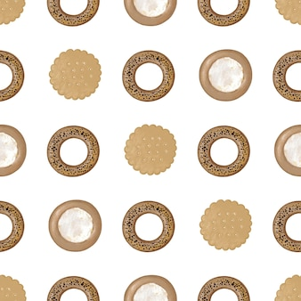 Seamless pattern with round cookies cheesecake and bagels