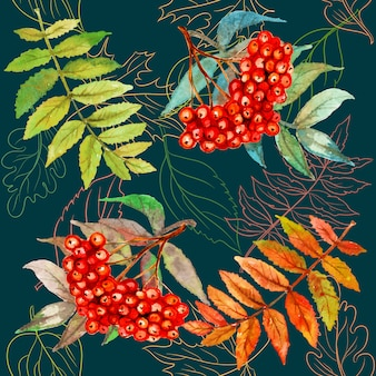 Seamless pattern with rowan berry and leaves. watercolor