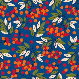 마가목 가지와 원활한 패턴 패브릭 섬유 포장지에 적합