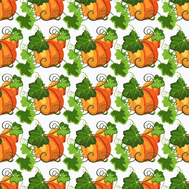 オレンジ色の熟したカボチャと白い背景の上の緑の葉の行とのシームレスなパターン