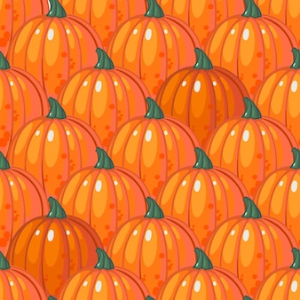 熟したオレンジ色のカボチャの列とのシームレスなパターン。