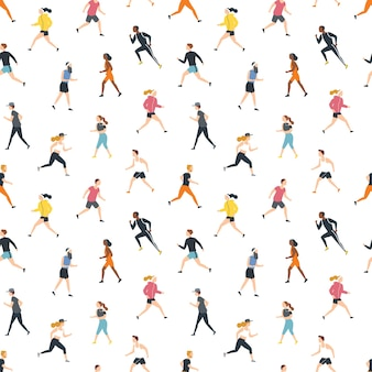 Seamless pattern with running people or athletes on white
