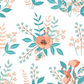 Seamless pattern with rustic poppy and other wild flowers, vector