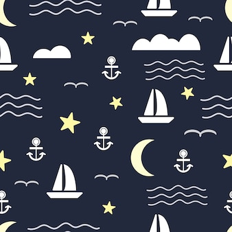 Seamless pattern with sailboat and anchor on sea