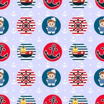 빨간색과 파란색 색상의 항해 배지와 함께 완벽 한 패턴