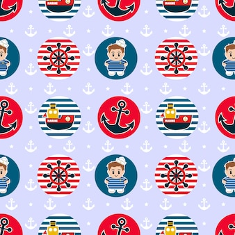 Seamless pattern with sailing badges in red and blue colors