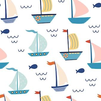 Бесшовный фон с парусными лодками. морской фон.