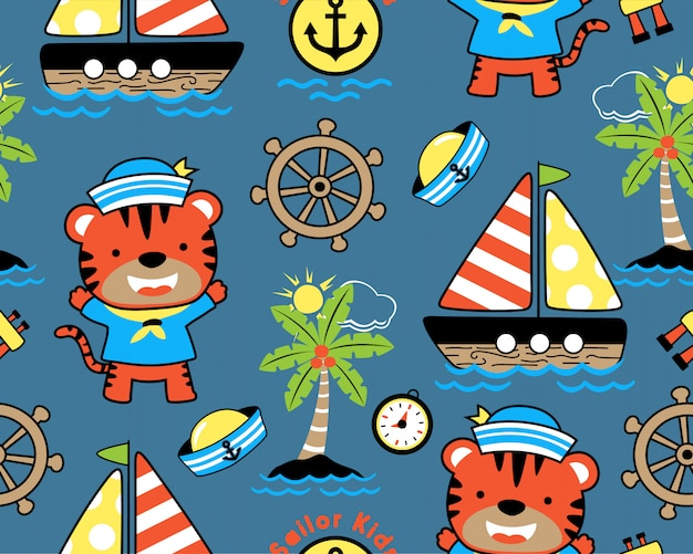 Seamless pattern with sailing cartoon