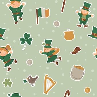 聖パトリックの日のステッカーとのシームレスなパターン。国立アイルランドの繰り返しの背景。休日のシンボルとかわいい面白いテクスチャ。