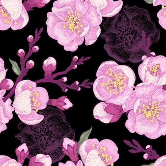 Seamless pattern with sakura branch.