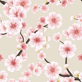 Seamless pattern with sakura.