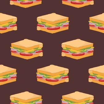 Seamless pattern with sandwiches on dark