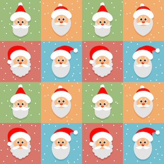 Seamless pattern with santa claus avatar