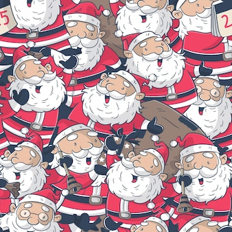 Seamless pattern with santa claus cartoon