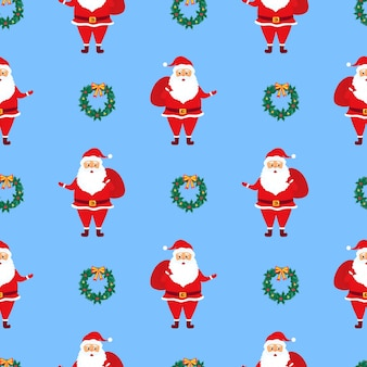 Seamless pattern with santa claus and gifts