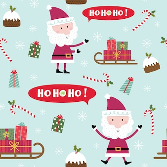 Seamless pattern with santa claus, santa sleigh, pudding, candy cane