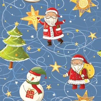 Бесшовный фон с санта-клаусом, снеговиком, рождественской елкой и звездами. бесшовное рождество фон.