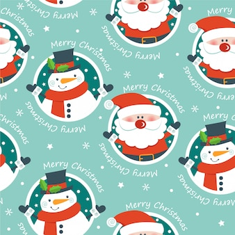 Seamless pattern with santa and snowman.