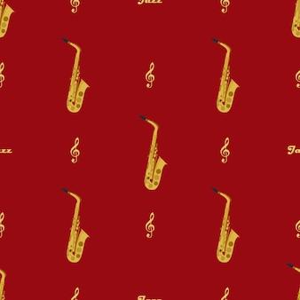 Бесшовный фон с саксофонами, скрипичными ключами и словом джаз. можно использовать для упаковки, обложек книг, конвертов.