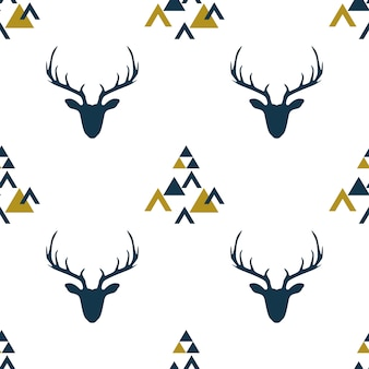 Seamless pattern with  scandinavian deer.