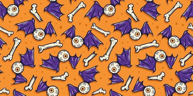 Бесшовный фон с страшными ужасными костями глазного яблока и крыльями для дизайна праздника хэллоуина