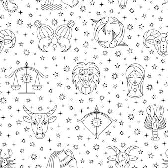 Бесшовный фон с разбросанными знаками зодиака и звездами на белом фоне.