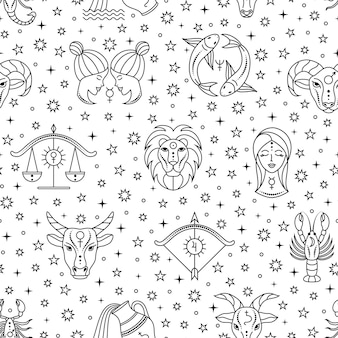 Seamless pattern with scattered zodiac signs and stars on white background.