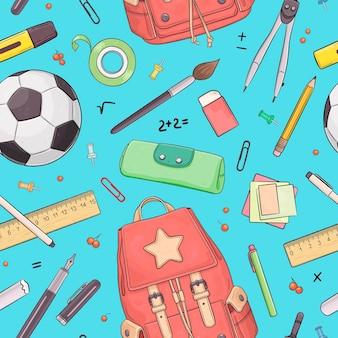 Бесшовный фон со школьными объектами