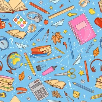 Бесшовный фон со школьными принадлежностями и канцелярскими принадлежностями в стиле каракули