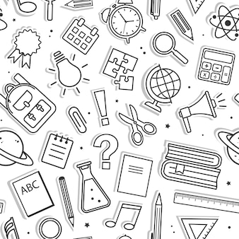 Seamless pattern with school supplies isolated on white background. black line art. vector illustration
