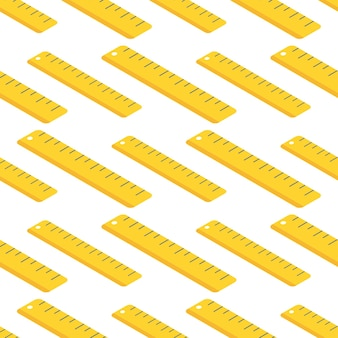 Seamless pattern with school supplies, ruler.