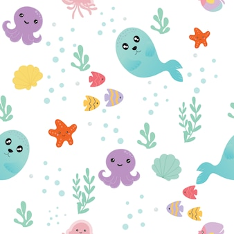 Seamless pattern with sea animals.