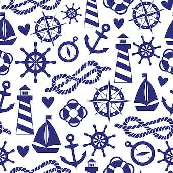 Бесшовные модели с морскими элементами: маяки, корабли, якоря. может использоваться для обоев, фона веб-страниц