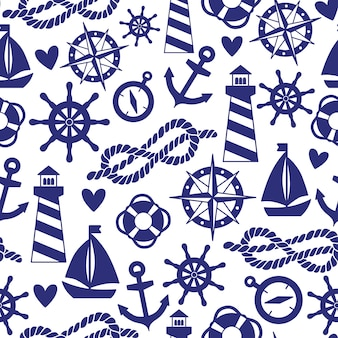 Seamless pattern with sea elements: lighthouses, ships, anchors. can be used for wallpapers, web page backgrounds