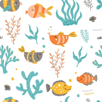 Seamless pattern with sea fish and algae