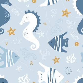 Seamless pattern with sea horses, fish