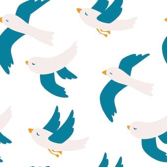 カモメとのシームレスなパターン。かわいいカモメの鳥のシームレスなパターン。飛んでいる鳥のパターン。夏休み。印刷に適しています。ベクトルイラスト落書きコミックアート、最小限のスタイル。