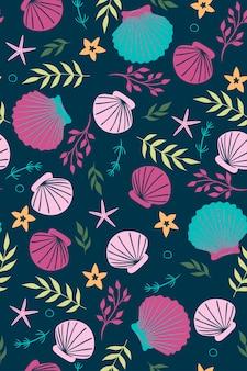 Бесшовный фон с ракушками, водорослями и морскими звездами. векторная графика.