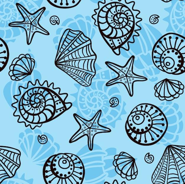 Seamless pattern with seashells on blue