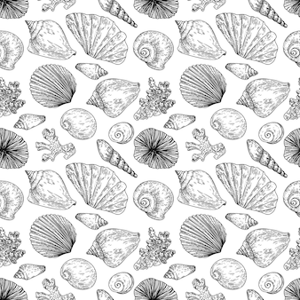 Seamless pattern with seashells, molluscs, scallops and corals in engraving style