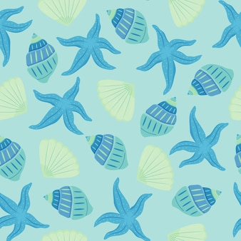 Seamless  pattern with seashells and starfish. blue and turquoise shades. beautiful summer pattern.