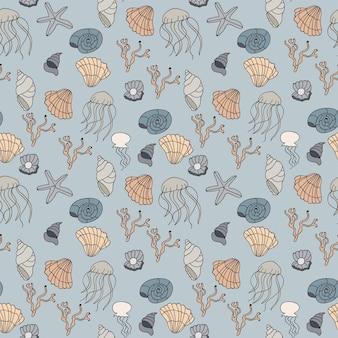 貝殻とのシームレスなパターン。ベクトルイラスト。漫画落書き手描きスタイル