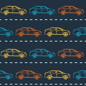 Seamless pattern with sedan cars